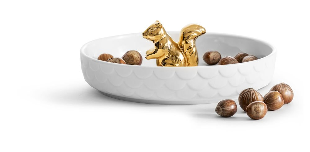Sagaform 5017722 Holiday Squirrel Plate Gold, White