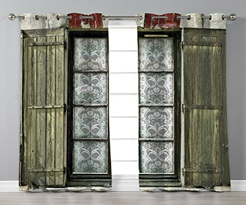 Stylish Window Curtains,Shutters Decor,European French Window with Antique Open Shutters Print Vintage Style Home Decor,Brown White,2 Panel Set Window Drapes,for Living Room Bedroom Kitchen Cafe from iPrint