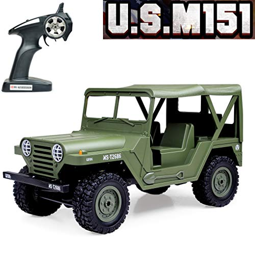 RC Car,Tecesy 1:14 Scale US M151 RC Jeep Military Off Road Vehicle 2.4Ghz Radio Remote Control Cars 4WD 15km/h RTR Buggy Rock Crawler Army Toys Great Gift for Adults Kids Boys(Army Green)