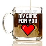 I'd Pause my Game for You 12oz Premium Glass Coffee Mug Set - PC Gamer Gifts for men, Birthday, Joke Gamer, for Kids, Bag, for Girls, for Boys, ps4, xBox, 360, Computer, Teens, Gag Boyfriend