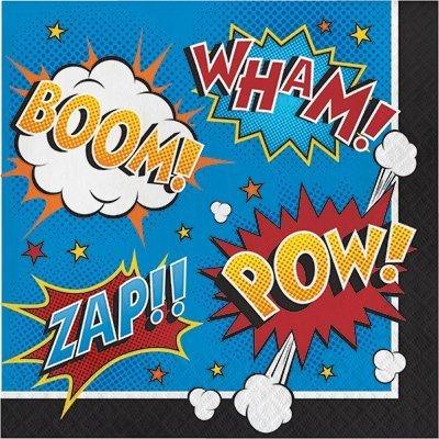 Find Discount Cartoon Superhero Slogans Birthday Party Bundle Napkins (48)