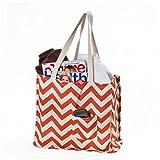 DSOS Orange Chevron Weatherproof Tote Bag, Dual Top Handles, Polyester