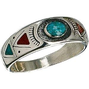 Chip Inlay Ring Türkis Lapis Indianerschmuck Westernschmuck Indianerrring Navajo