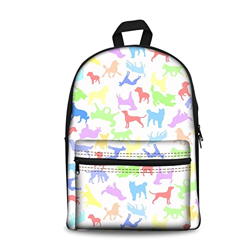 Dog Print Clipart (Dog Clip Art Print Unisex School Backpack Kids Travel Rucksack Schoolbag)