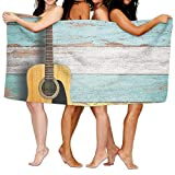 Haixia Absorbent Bath Towel Beach/Bath/Pool Towel 51.2'' X 31.5'' Music Decor Acoustic Guitar On Colorful Painted Aged Wooden Planks Rustic Country Decor Decorative