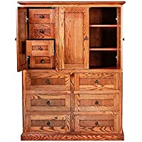 Forest Designs FD-3056B- MR- AuA Mission Ten Drawer Armoire, 46 W x 60 H x 18 D, Auburn Alder