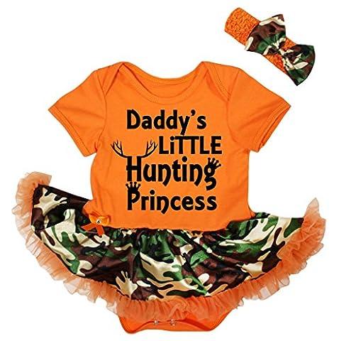 Petitebella Daddy's Hunting Princess Orange Bodysuit Camouflage Tutu Nb-18m (3-6 Months) - Girls In Camo