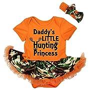Petitebella Daddy's Hunting Princess Orange Bodysuit Camouflage Tutu Nb-18m (6-12 Months)