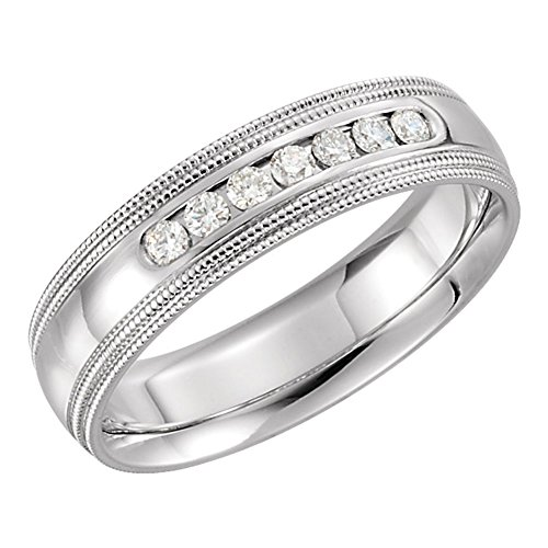 0.50 ct Men's Round Cut Diamond Double Milgrain Wedding Band in 18 kt White Gold