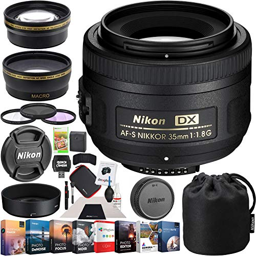 Nikon AF-S DX NIKKOR 35mm f/1.8G Lens with Auto Focus F-Mount DSLR Cameras Premium Accessory Set with 52mm Wide Angle & Telephoto Lens + Multicoated Filter Kit + Editing Software Bundle