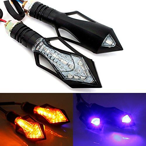 AUDEW 13 Led Universal Motorcycle Turn Signal Indicators Light Amber Blue Lamp