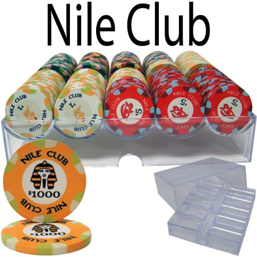 - 200 Ct Nile Club 10 Gram Poker Chip Set in Acrylic Chip Tray With Lid