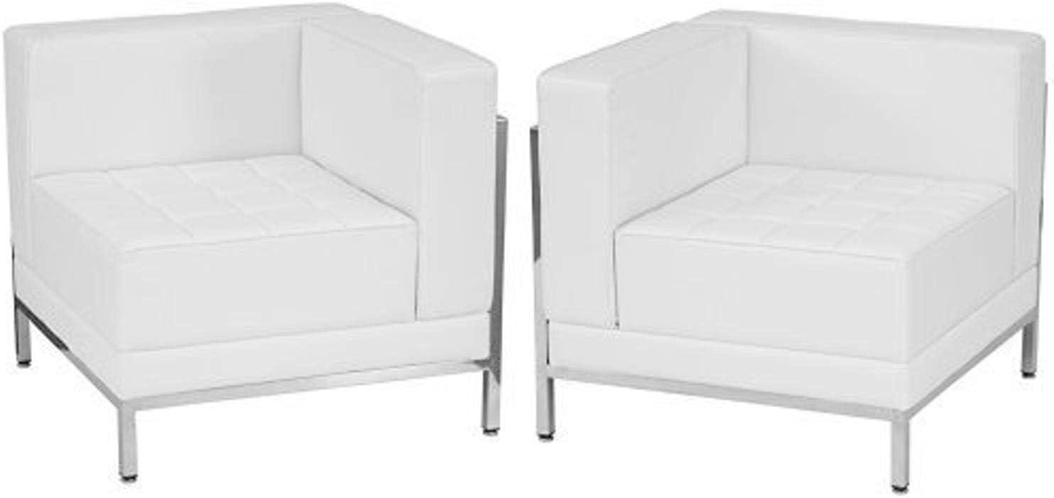 Flash Furniture HERCULES Imagination Series Melrose White Leather 2 Piece Corner Chair Set
