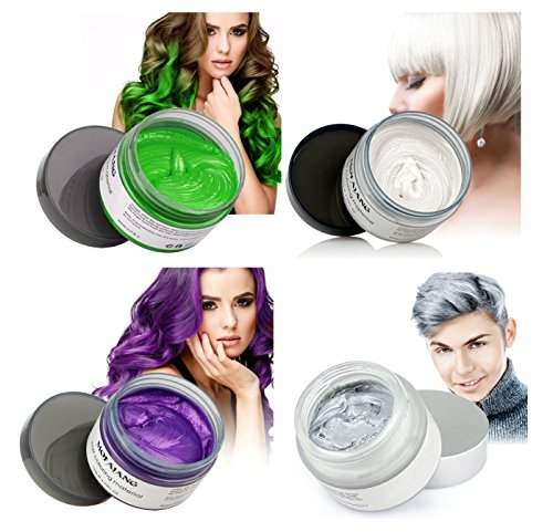 Vakker Hair Wax Color Styling Cream Mud Kit, Natural Hairstyle Dye Pomade, Party Cosplay, 4 Colors Value Pack White Gray Green Purple