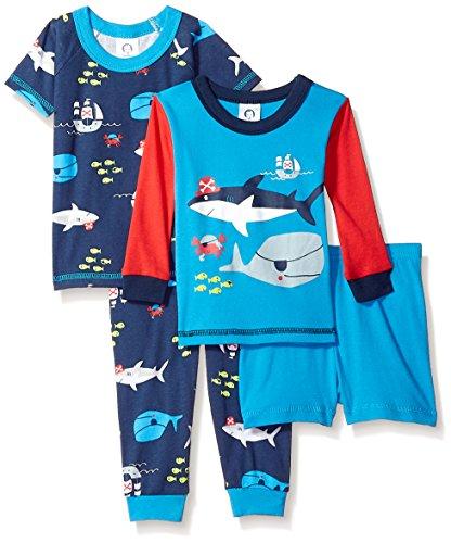 GERBER Baby Boys' 4-Piece Pajama Set, Shark Ocean, 12 Months