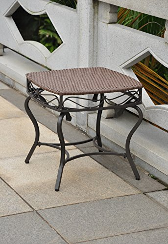 International Caravan Wicker Resin Steel Patio Side Table in Antique Brown Finish