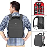Neewer Camera Case Waterproof Shockproof 12.2x5.5x14.6 inches/31x14x37 centimeters Camera Backpack Bag with Tripod Holder for SLR,DSLR,Mirrorless Camera, Flash and Other Accessories(Red Interior)