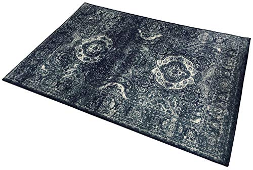 English Home Studio Collection Vintage Aubusson Design Area Rugs (Royal Navy, 5x7)