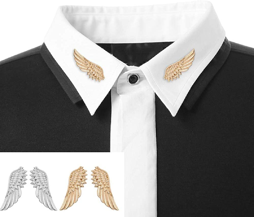 Vovofi Pair 1 Angel Wings Style Collar Pins Metallic Fashion Punk Blouse Collar Tips Brooches Pin Collar Ornaments Accessory