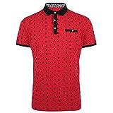 Tanbridge Men's Short Sleeve Polo Shirts Classic Printed Cotton Shirts Red Medium