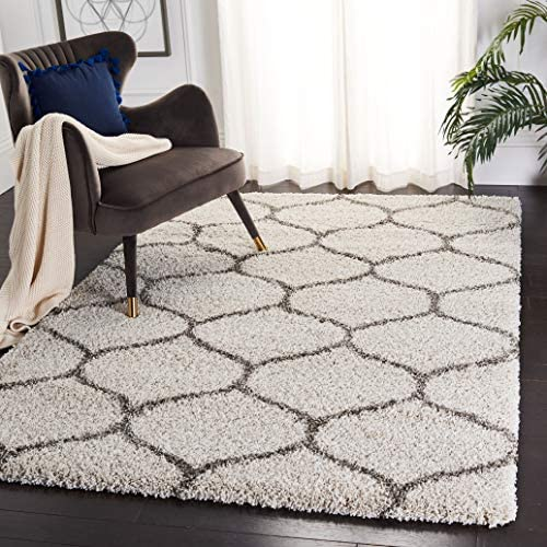 Safavieh Hudson Shag Collection SGH280A Moroccan Ogee Plush Area Rug, 9 x 12 , Ivory Grey
