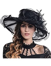FORBUSITE Women Kentucky Derby Church Wedding Dress Organza Hat SM09-SM019