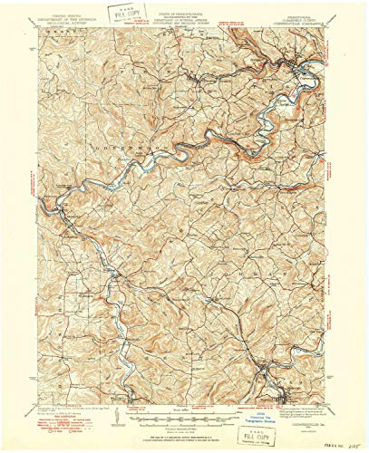 YellowMaps Curwensville PA topo map, 1:62500 Scale, 15 X 15 Minute, Historical, 1939, Updated 1952, 20.9 x 17 in - Tyvek