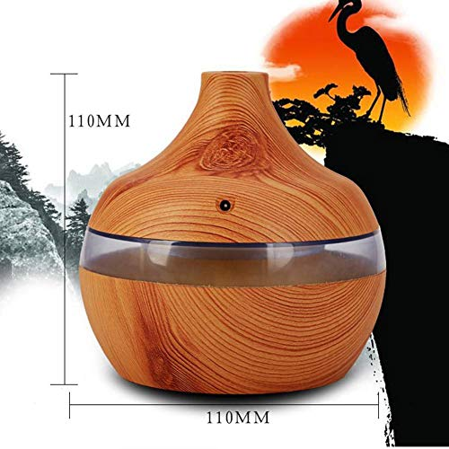 Eletric Wood Grain Ultrasonic Essential Oil Diffuser Cool Moisture Aroma Humidifier Electric Air Freshener with 7 Color Changing Nightlights for Home & Ofiice Light Wood by BleuMoo (Image #7)