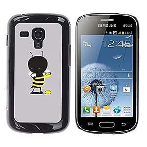 TopCaseStore / la caja del caucho duro de la cubierta de protección de la piel - Grey Cartoon Yellow Cute - Samsung Galaxy S Duos S7562