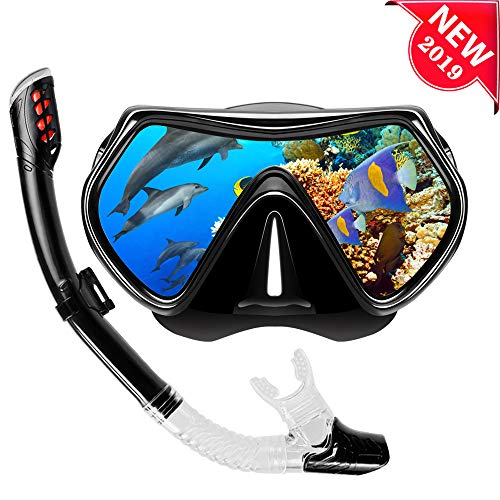 VillSure Snorkel Set Adult,Dry Top Snorkeling Gear,Impact Resistant Anti Fog Tempered Glass Panoramic Scuba Mask,Easy Breathing Underwater for Snorkeling, Swimming, Diving (Black) ()