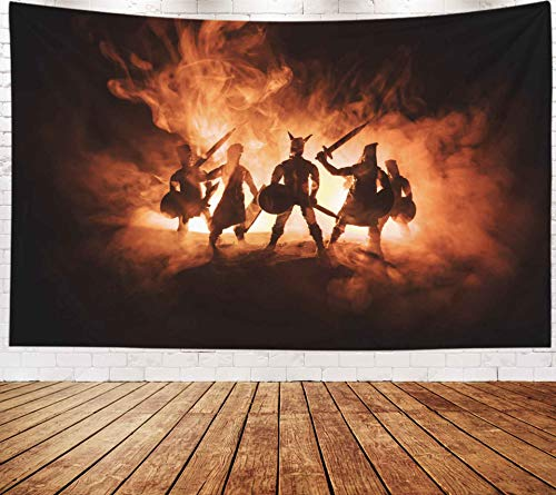 Musesh Fantasy Tapestry,Art Tapestry, Tapestries Wall Hanging for Bedroom Living Room Decor Inhouse 80x60 Inches Size Medieval Battle Scene Silhouettes of Figures As Separate Objects Fight Be