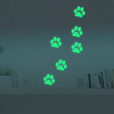 Yeahii Luminous Dog Footpint Wall Sticker Decoration Living Room Children Room Decor: Home & Kitchen
