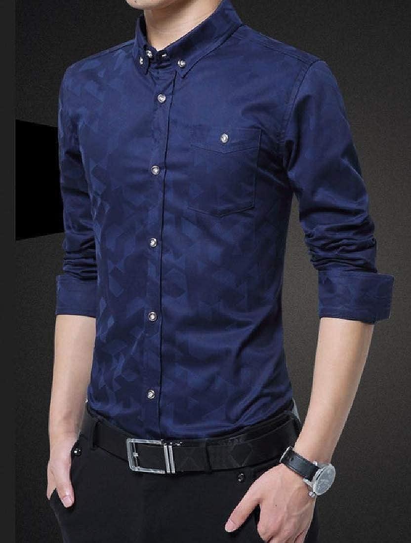 Kankanluck Mens Printed Long Sleeves Slim Fitting Button Down Shirts