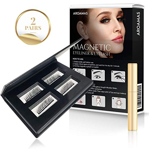 Natural Lash Kit - Aroamas Magnetic Eyelashes with Eyeliner Kit - Natural Look - 2 Pairs - Easy-to-Use - No Glue Needed - Reusable