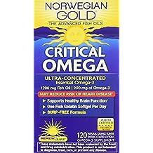 Norwegian Gold - Critical Omega - Omega 3 fish oil supplement - burpless - brain and heart health- 120 softgel capsules - a Renew Life brand