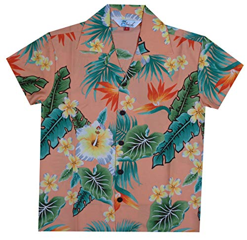 Hawaiian Shirts 46B Boys Flower Leaf Beach Aloha Holiday Casual Peach M ()