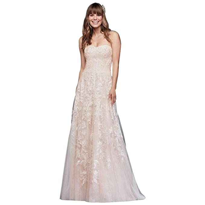 96f08558 David's Bridal Melissa Sweet Lace A-Line Wedding Dress Style MS251174,  Solid Ivory,