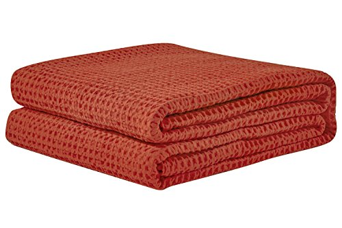 PHF Waffle Weave Blanket 100% Cotton Breathable Warm Right Weight for Winter and Summer Queen Size Orange Red