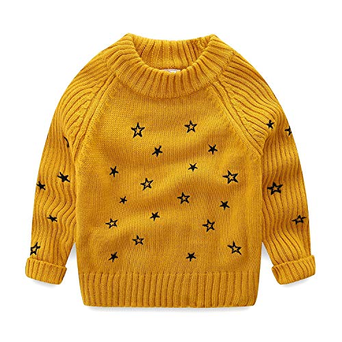 Mud Kingdom Toddler Girls Pullover Sweaters Cute Embroidered Stars 2T Yellow