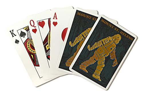 Mount St. Helens, Washington - Bigfoot Typography (Playing Card Deck - 52 Card Poker Size with Jokers)