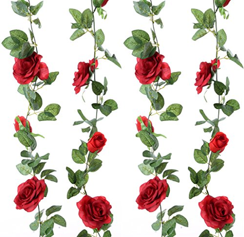 Felice Arts 2pcs 13 FT Fake Rose Vine Flowers Plants Artificial Flower Hanging Rose Ivy Home Hotel Office Wedding Party Garden Craft Art Decor,Red ()