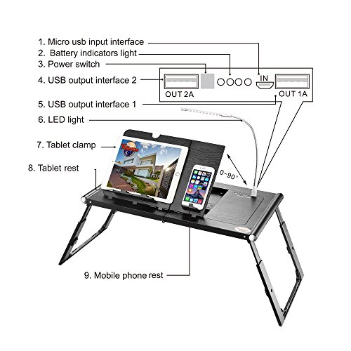 Villacera Smart Adjustable Laptop or Tablet Tray | Charging Station and Light Built In - Ergonomic while in Bed by Villacera (Image #1)