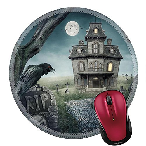 Liili Round Mouse Pad Natural Rubber Mousepad Haunted house and spooky graveyard Photo (Fantasia Halloween Sp)