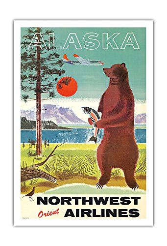 (Pacifica Island Art Alaska - Northwest Orient Airlines - Kodiak Alaskan Brown Grizzly Bear - Vintage Airline Travel Poster c.1960s - Fine Art Print - 30in x 44in )