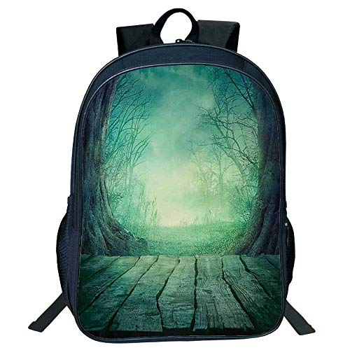(DKFDS Backpacks Unisex School Students Gothic,Spooky Scary Dark Fog Forest Dead Trees Wooden Table Halloween Horror Theme Print,Blue)