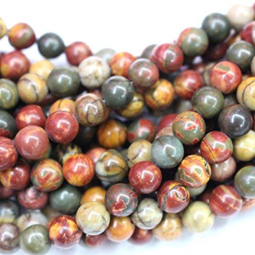 Natural Picasso Jasper Round Gemstone Jewelry Making Loose Beads -