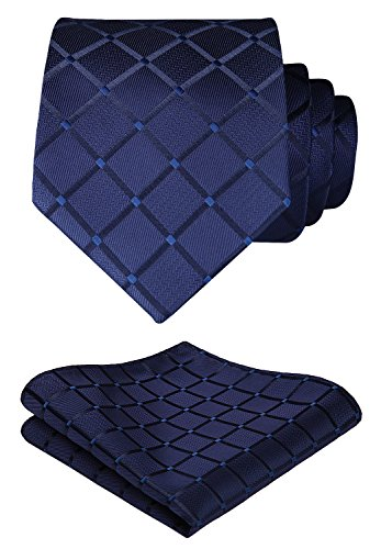 HISDERN Extra Long Check Tie Handkerchief Men's Necktie & Pocket Square Set (Navy Blue)