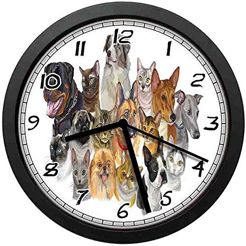 128 buyloii Portrayal Group of Vibrant Shaded Pets Cats and Dogs Australian Shepherd Multicolor Wall Clock Home Office School Clock 12in