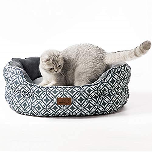 BEDSURE Small Dog Bed Washable – Round Waterproof Cat Sofa Bed With Nonskid Bottom for Indoor Cat and Puppy, Grey…