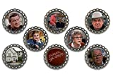 Set of 8 Murder, She Wrote themed bottle cap magnets.